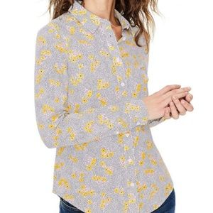 BODEN Yellow Floral The Classic Shirt Button Down
